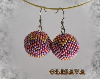 Seed Bead Earrings - beaded earrings , peyote earrings , beadwoven earrings ,  tribal style , boho style