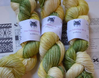 Myrtle, Hand Dyed yarn, Shawl Yarn, Merino/Silk, 4 ply, 100gm