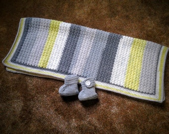 Key Lime Striped Baby Blanket with Booties