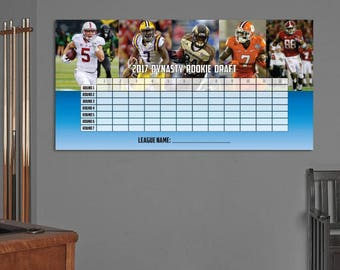 "DIY 2017 Dynasty Fantasy Football Rookie Draft Board (24"" x 48"") with Player Name Stickers - INSTANT DOWNLOAD"