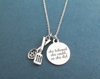She belived, She could..., So she did, Cooking, Tongs, Silver, Necklace, Cook, Cookware, Chef, Necklace, Gift, Jewelry