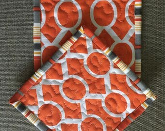 Quilted Pot holders , Potholders,pot holders, Fabric Pot holders, Contemporary Potholders ,7,5 x 7,5 inch,orange and gray