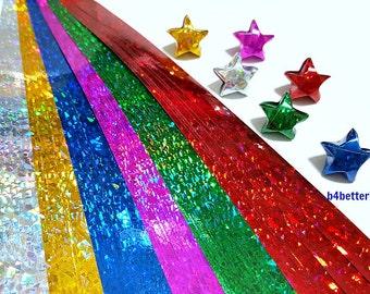 Pack of 200 Strips Mini Size Lucky Stars Origami Paper Kits. 24.5cm x 1.0cm. (4D Glittering paper series). #SPK-129.
