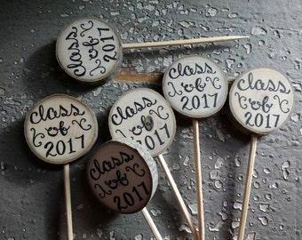 "Class of 2017 Cupcake Toppers 1"" Rustic Wood Tree Slice Party Picks / Rustic Graduation Decor / 2017 Graduate / Grad Party / Grad Open House"