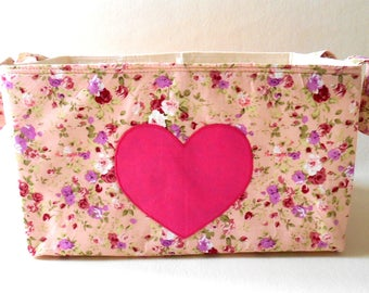 I love you floral organisation fabric caddy with divider, creams and pinks make up storage, romantic decor, spring sewing basket