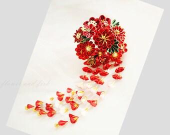 kanzashi flower-red-janpanese kanzashi-Accessories-kanzashi flower fork- Japanese hair flower, geisha hair piece