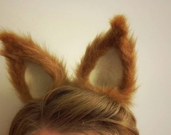 Fox Ears Headband - Cream Inner Ear, Faux Fur Ears, Cosplay Animal Ears