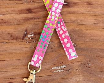 Pink Batik ID Holder Neck Strap, skinny lanyard, nursing student badge holder, teacher appreciation, gift for her, gift under 10, keychain