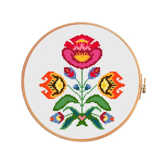 Spring polish flower cross stitch pattern modern