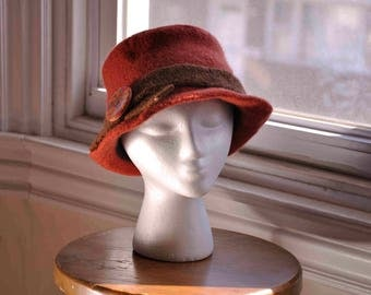 Felted women's hat hand-knit orange wool with brown trim, bucket shape & upturned brim, handmade clay button, vintage 1940s style--Copper
