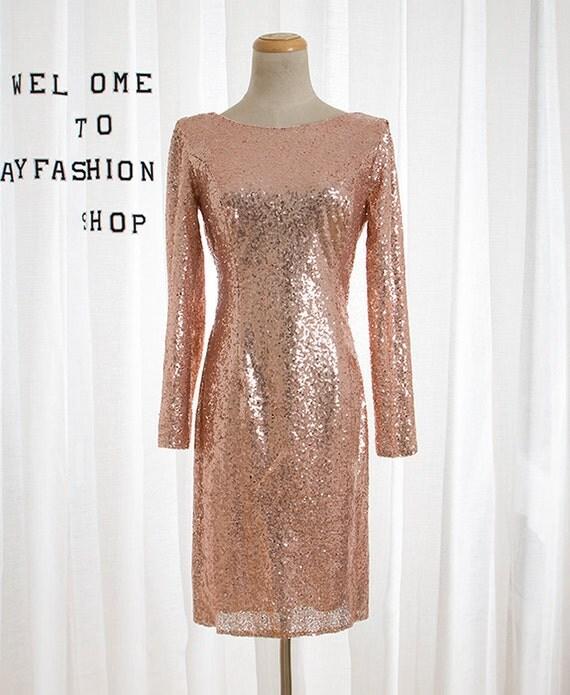 Short Rose Gold sequin prom dress,Long sleeve mermaid bridesmaid dress,Sexy Halter evening dress