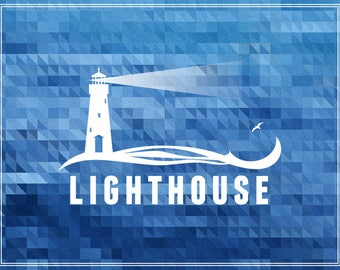 Lighthouse poster (printable file): white silhouette on mosaic sea-blue background.