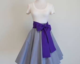 Disney's Sleeping Beauty Briar Rose Aurora Inspired Gray Circle Skirt and Purple Sash