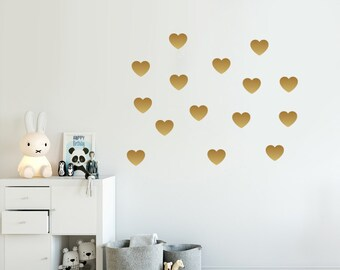 hearts decal choose your color scandinavian design girly wall decal gold decals - Wall Design Decals