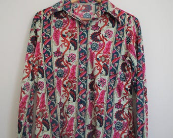 Womens 70s Disco Shirt, Vintage 70s Button Down, Vintage Blouse, Floral Print, Pink, Red, Green, Small, Medium