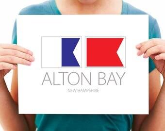 Alton Bay, New Hampshire, Nautical Flag Art Print