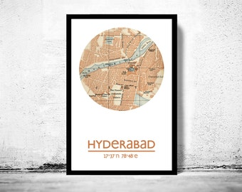 HYDERABAD - city poster - city map poster print
