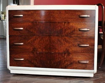 SOLD******Refinished Art Deco Waterfall Dresser
