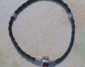 "Braided Black Leather Magnetic Clasp Bracelet 7 1/2"" - BONUS Stopper Bead"