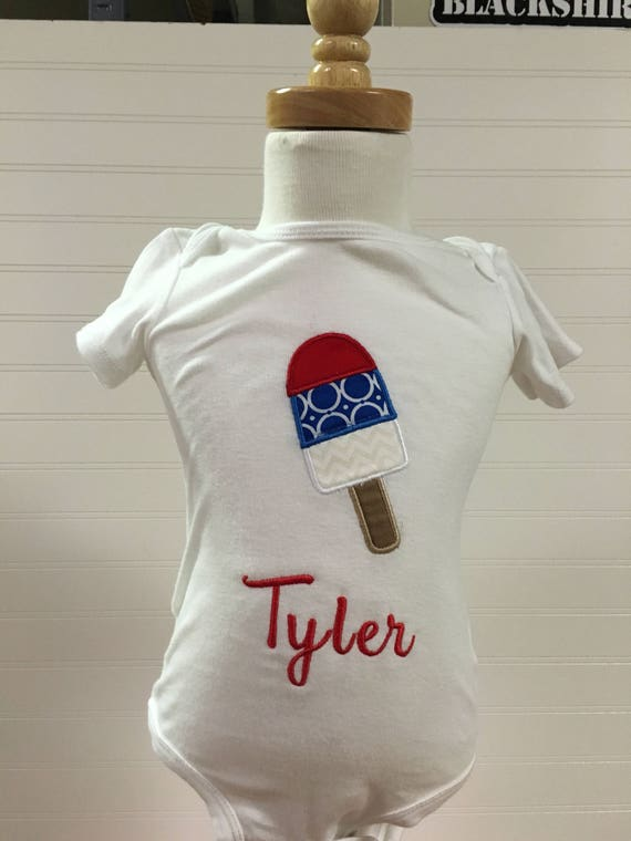 4th of july girls shirt, patriotic 3 layer popsicle shirt, red white and blue girls clothes, popsicle baby girls clothes, monogram,embroider