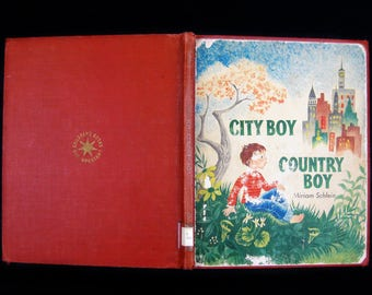 "Vintage 1955 Library Book-""City Boy Country Boy"" by Miriam Schlein, Illustrated by Katherine Evans"