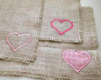 Burlap Placemats, Valentines Hearts