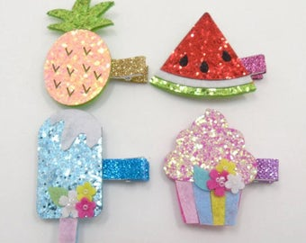 Ice Pop, Cupcake, Pineapple, Watermelon Hair Clips