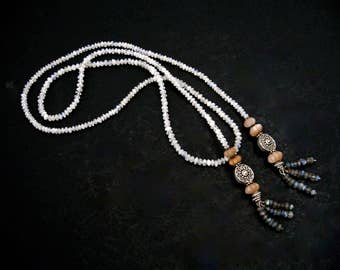 "Rose and Smokey Quartz Flapper Never Ending Necklace 44"" Long, Elegant Flapper Style Necklace Gift for Her"