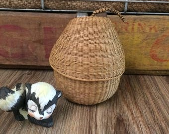 Wicker Pear, Small Catchall, Pear Shaped Basket, Small Storage, Small Organization Basket