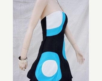 Mod Abstract 80s Prom Dress  Sm / 80 New Wave Kid Club Party Dress / 80s Avant Garde Dress / 80s New Wave Kid Club Dress /  Punk Prom Dress