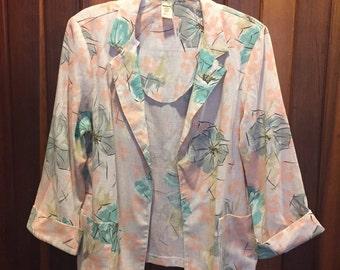 1980s // NO BRAND // Pastel Floral Size 16 Woman's Blazer