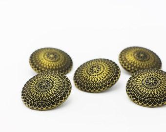 Bronze BOHO Shank Buttons, Shank Button, Antique Bronze Buttons, Vintage Style Elegant Button, Coat Button, Bohemian Button, 30mm