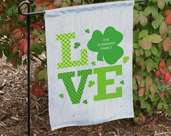 Personalized Irish Garden Flag, Shamrock Garden Flag