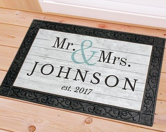 Personalized Door Mat, Couples front door mat, welcome mat