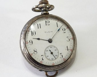 Antique, Elgin, Pendant, Pocket Watch, Locket, Movement, Sterling Silver, Case, Steampunk, Jewelry, Beading, Supplies, Supply