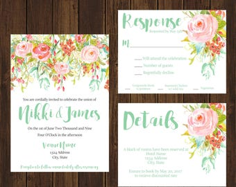 Floral Spring Arrangement Bright Wedding Invitations