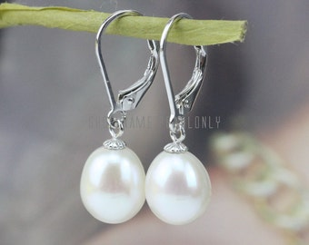 French earrings,8mm freshwater drop pearl earrings,ivory pearl earings,sterling silver leverback earrings,bridesmaid earrings,special gift
