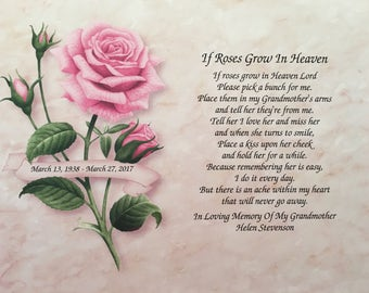 In Memory of Grandmother, Sympathy Gift, If Roses Grow In Heaven, Memorial Gift, Memorial Day, Loss of Grandmother, Grandma in Heaven