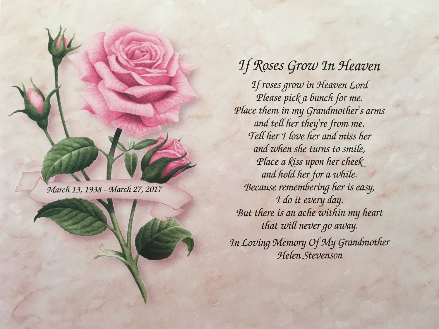 In Memory of Grandmother Sympathy Gift If Roses Grow In
