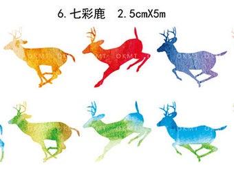 Colorful Deer Washi Tape -- Masking Washi Tape -Deco tape-- 25mm x5M