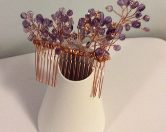 Bridal hair comb Made with amethyst