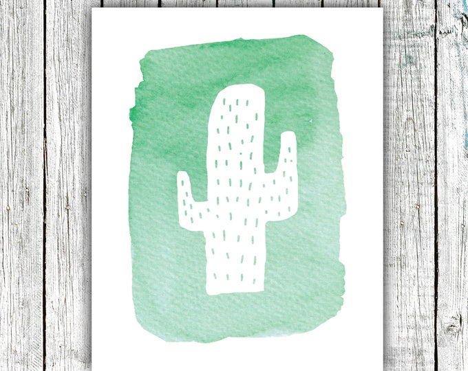 Children's Wall Art Printable, Cactus, Watercolor, Green, , Digital Download Size 8x10 #633