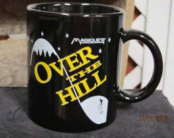 Vintage Magique's  Coffee Cup Mug Black Over the Hill Coffee Cup Funny Humorous