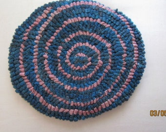 SALE Primitive Round Swirly Mat, Turquoise Blue and Pink  Folk Art