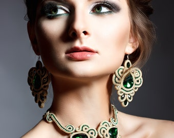 necklace soutache jewerly on the neck