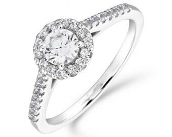 0.65ct Diamond Halo Engagement Ring