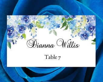 "Printable Place Card ""Amelia"" Blue Roses & Hydrangea Watercolor Flowers Make Your Table Name Cards Editable Word.doc Template DIY U Print"