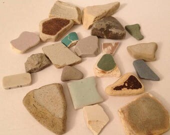 ON SALE Small lot of Lake Tumbled Beach Found Tiles Tile Pieces Jewelry Art Craft Supplies Mosaic