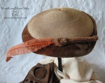 Vintage Brown Straw Hat Quaint Style Fashion Statement  Kate Middleton Hat Facinator Topper Pancake hat circa 1950's WhenRosesBloom