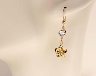 Gold Plumeria Earrings, Frangipani Earrings, Hawaiian Earrings, Tropical Beach Wedding Earrings, Plumeria Charm, Cubic Zirconia Earrings,